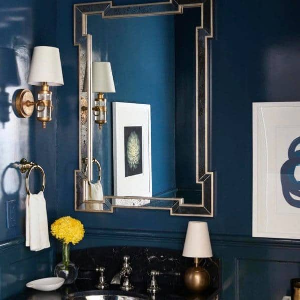 Luxury Home Interior Blue Bathroom