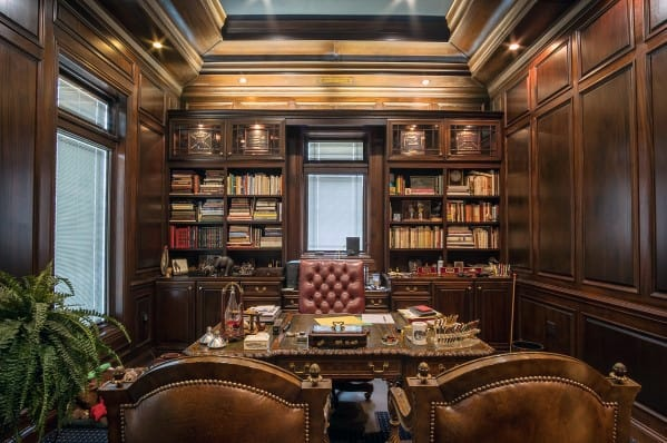 Luxury Home Office Bookcases Ornate Wood Wall Interior Ideas