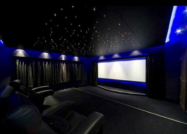 luxury home theater design with neon blue walls - Home Theater Design