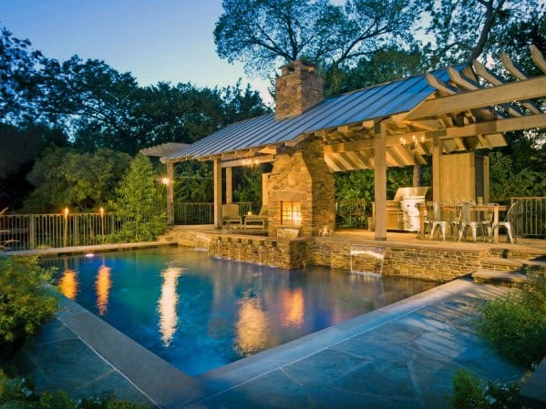 Luxury Ideas For Covered Patio Fireplace With Large Backyard Pool