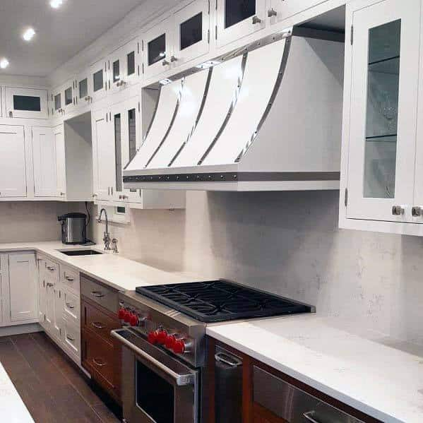 Luxury Kitchen Hood Ideas White With Steel Accents