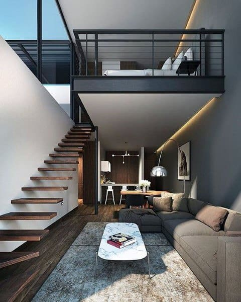 Luxury Loft Ideas With Floating Staircase Design