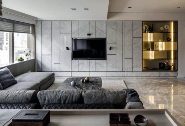 Luxury Marble Tile Ideas For Television Wall