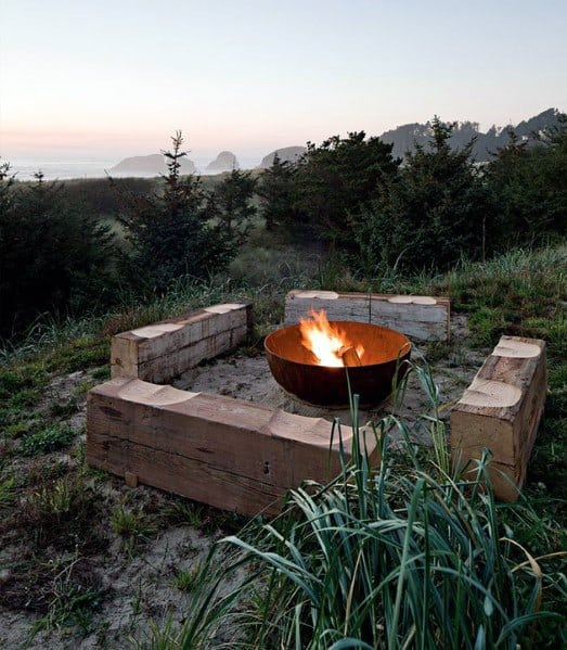 Luxury Metal Fire Pit With Wood Log Seating