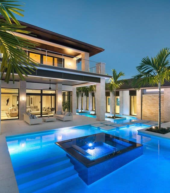 Luxury Modern Blue Lighting Home Swimming Pool Designs