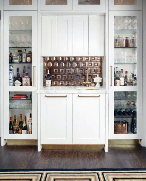 Luxury Modern White And Gold Themed Wet Bar Ideas