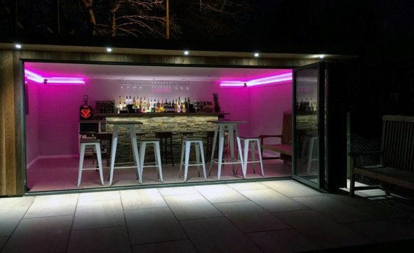 Luxury Shed Bar In Garage With Neon Lighting