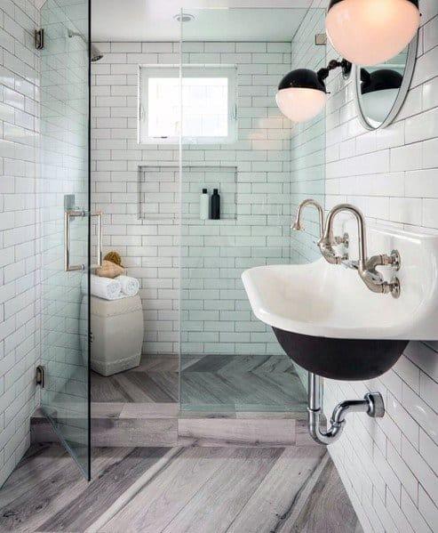 Luxury Shower Floor Wood Look Tile Ideas