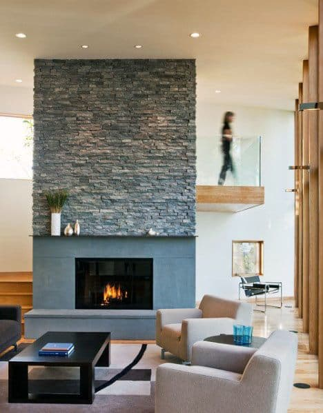 Luxury Stacked Stone Fireplace Ideas