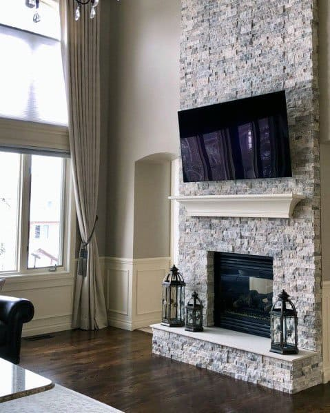Luxury Stacked Stone Fireplace