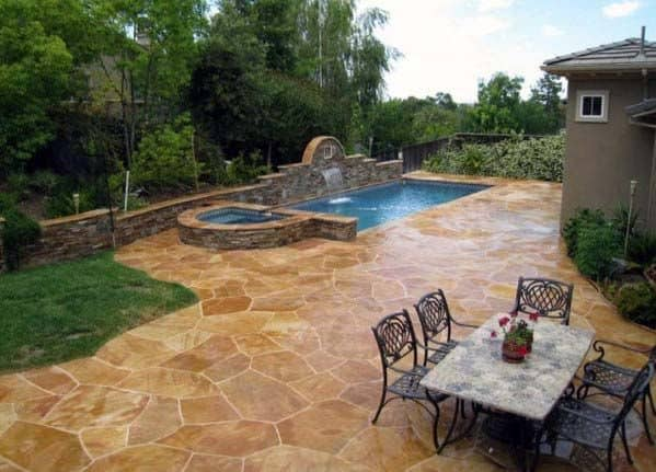 Luxury Stained Stamped Concrete Patio Pool Ideas