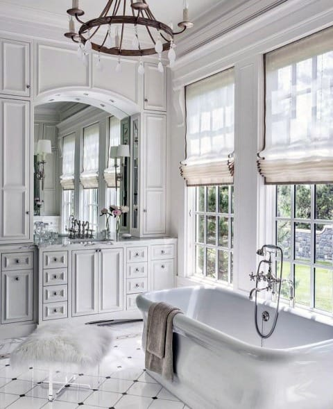 Luxury White Bathroom Crown Molding Ideas