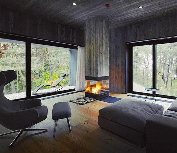 Luxury Wood Corner Fireplace Design