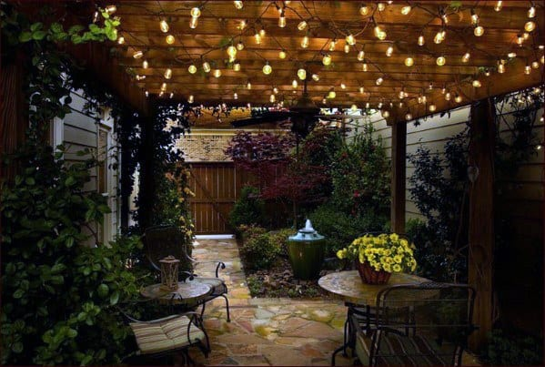 Luxury Wood Pergola Patio String Light Ideas
