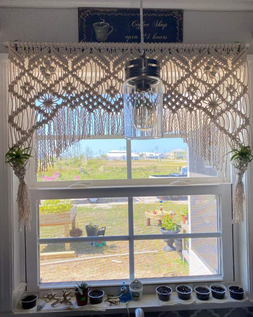 macrame kitchen curtain ideas frayedknotco