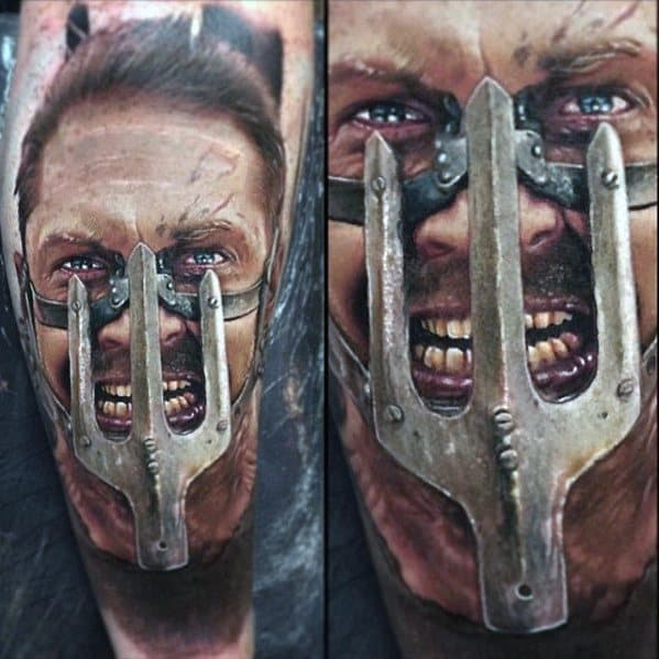 Mad Max Guys 3d Realistic Portrait Leg Tattoos