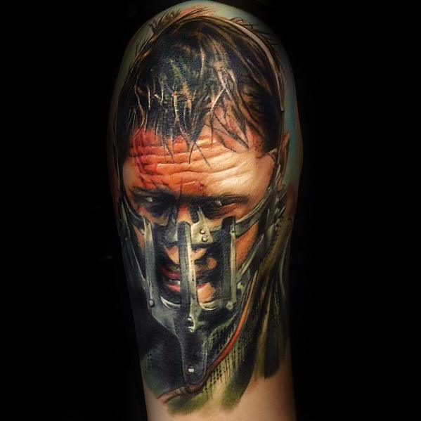Mad Max Half Sleeve Portrait Tattoo Ideas For Males