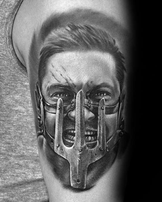 Mad Max Portrait From Movie Arm Tattoo Designs For Guys
