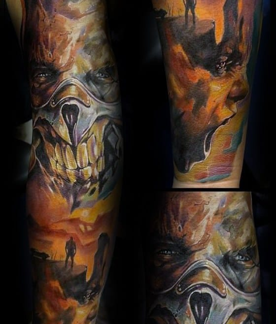 Mad Max Themed Tattoo Design Ideas For Males Full Arm Sleeve
