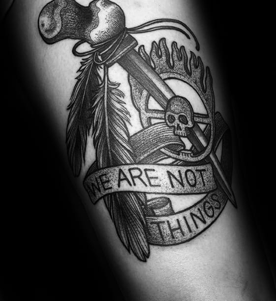 Mad Max We Are Not Things Quote Arm Tattoo Design On Man