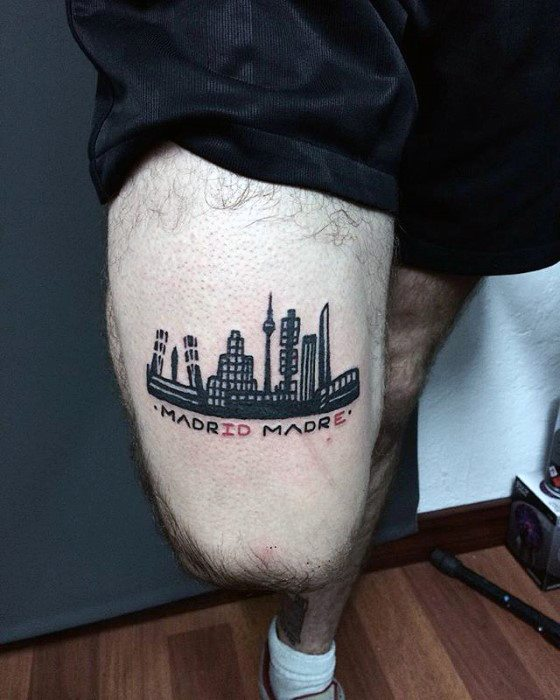 Madrid Made Skyline Coolest Small Mens Thigh Tattoo