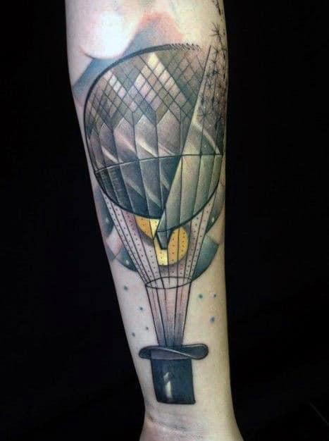 Magic Black Hat With Hot Air Balloon Mens Inner Forearm Tattoo