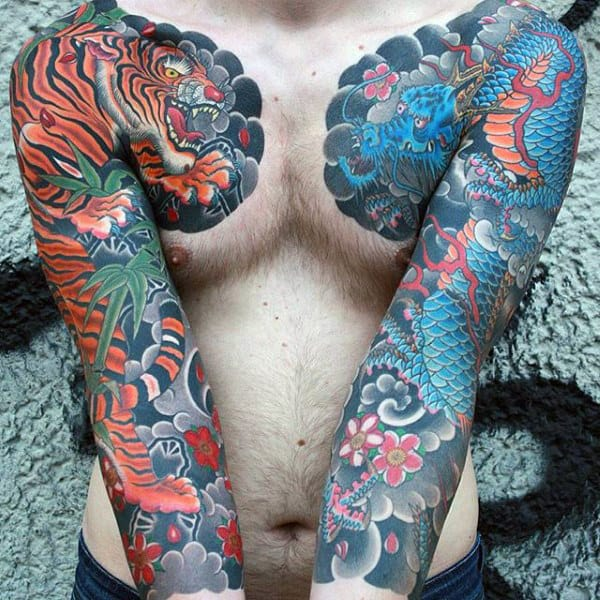 Magical Dragon Tattoo Male Sleeves