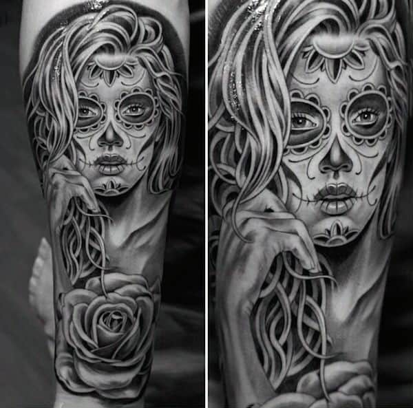 Magnetising Black Day Of The Night Woman Tattoo Mens Forearms