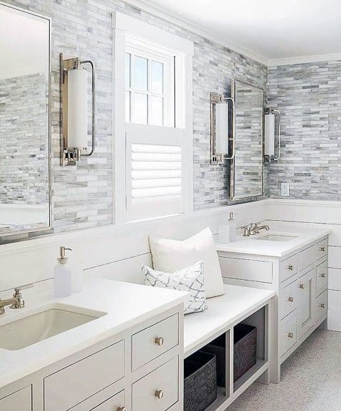 Magnificent Bathroom Vanity Design Ideas With Bench Seat In Middle