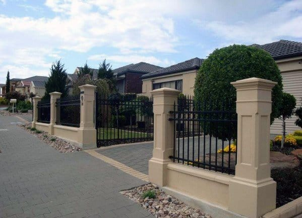 Magnificent Front Yard Fence Design Ideas Wrought Iron Stucco