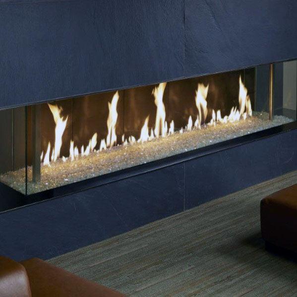 Magnificent Gas Glass Linear Fireplace Design Ideas