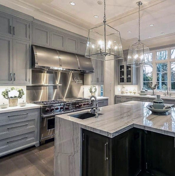 Gray Home Design Ideas: Top 50 Best Grey Kitchen Ideas