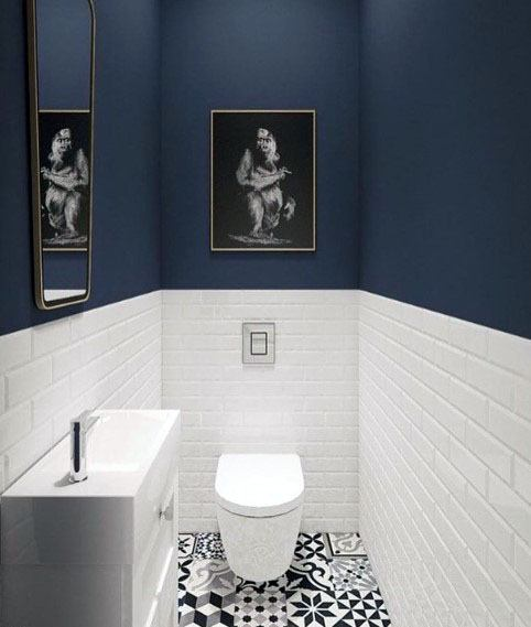 Magnificent Half Bath Blue And White Tile Design Ideas
