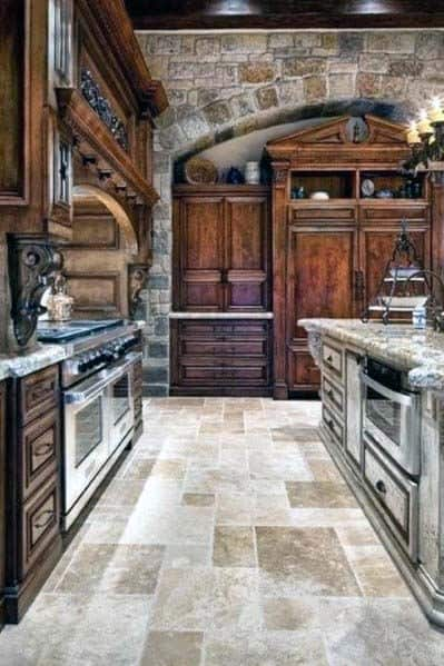 Magnificent Rustic0kitchen Tile Floor Design Ideas