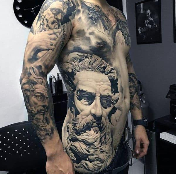 Magnificient Greek God Realism Tattoo Mens Torso And Sleeve