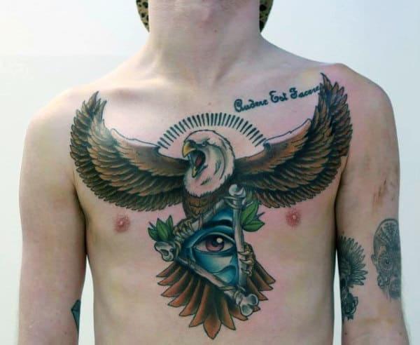 Magnificient Eagle Illuminati Tattoo Mens Chest