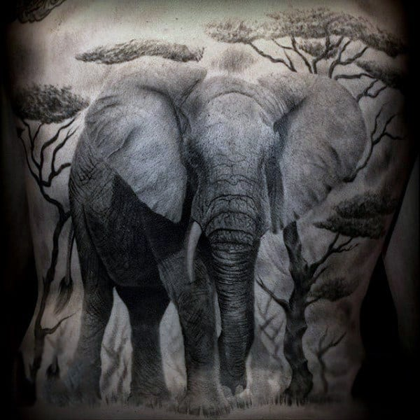 Magnificient Elephant Tattoo Males Full Back