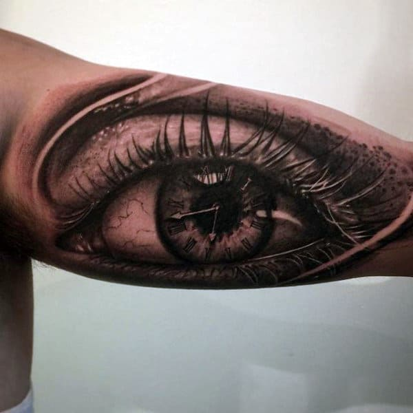 Magnificient Grey Eyes Clock With0huge Lashes Tattoo Mens Arms