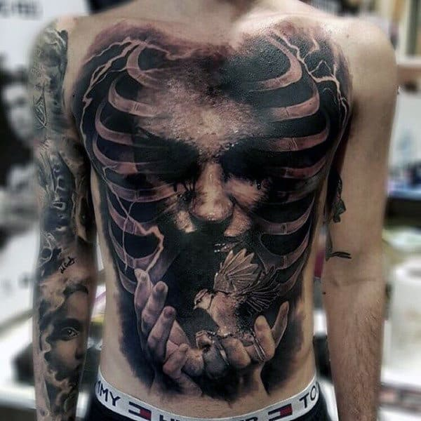 Magnificient Ribbed Manly Tattoo Torso
