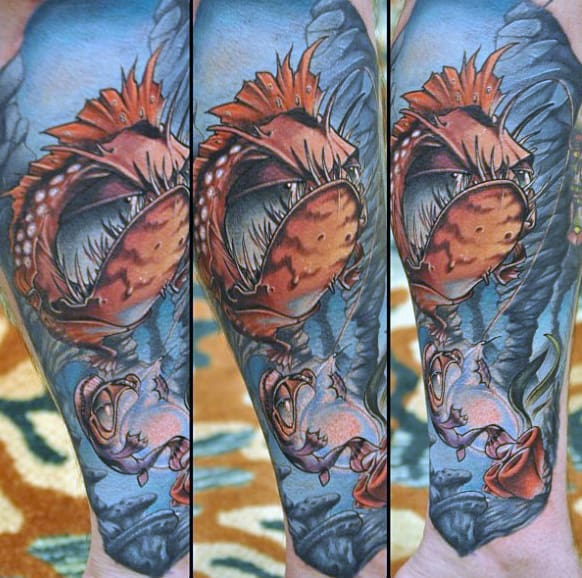 Magnificient Underwater New School Tattoo Male Forearms