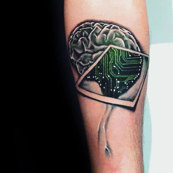 Magnified Mirror Brain Tattoo Male Arms