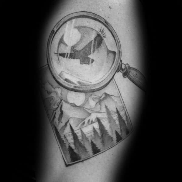 Magnifying Glass Male Tattoos