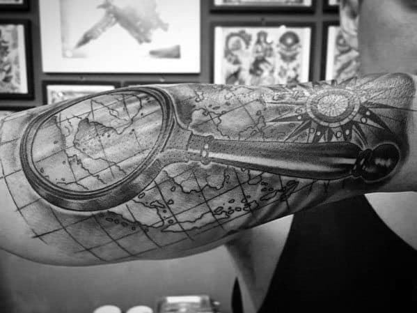 Magnifying Glass Tattoo Design Ideas For Men
