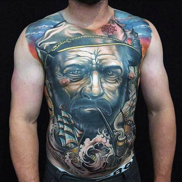 Majestic Male Torso Neo Traditional Tattoo