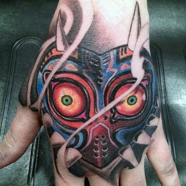 Majoras Mask Mens Zelda Hand Tattoos