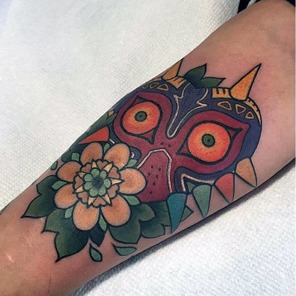 Majoras Mask Old School Guys Forearm Tattoo