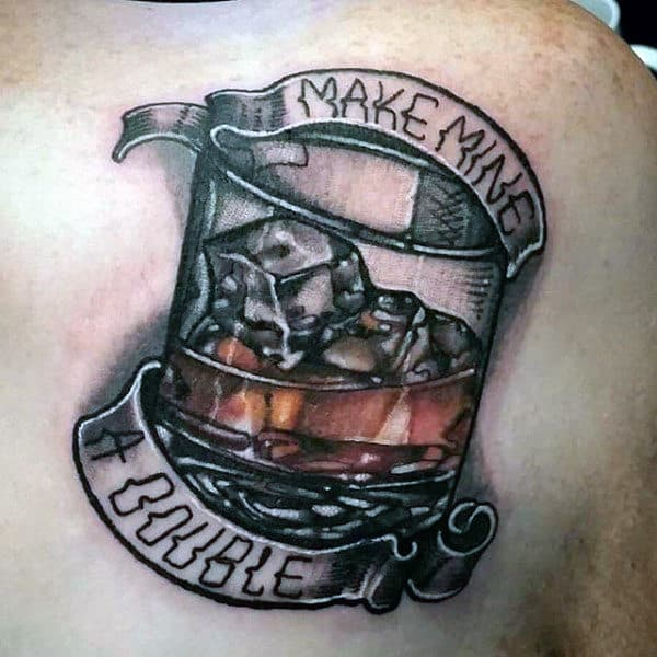 Make Mine A Double Guys Banner Jack Daniels Upper Chest Tattoos