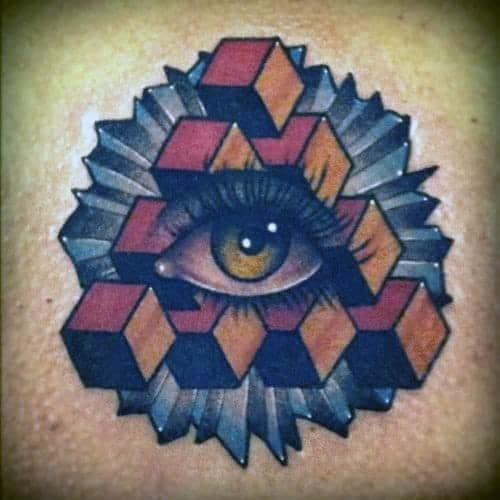 Male 3d Cube Back Penrose Triangle Tattoo