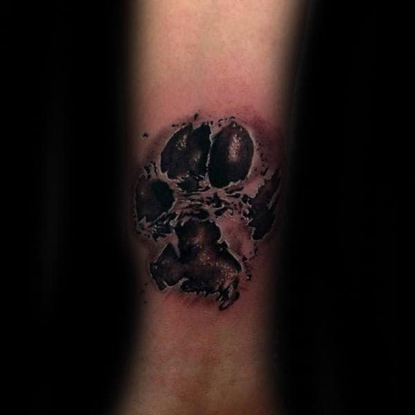 Male 3d Dog Paw Inner Forearm Tattoo Designs