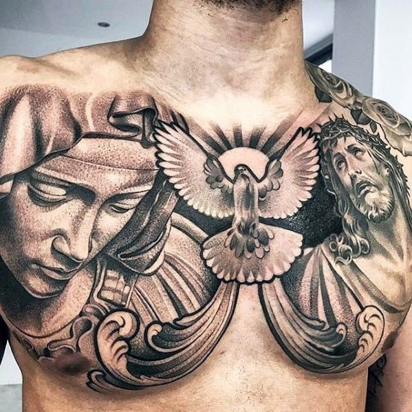 Male 3d Jesus Chest Chicano Tattoo Design Inspiration